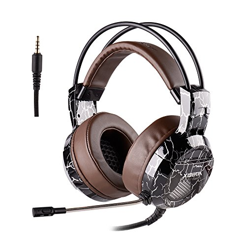 Xbox One PS4 Gaming Headset, 3.5mm Wired with Microphone for PC Over Ear Computer Headphones Volume Control Mic Mute Switch for Laptop, Mac, Tablet, Call Center, Video Conference (Brown)