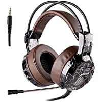 Xbox One PS4 Gaming Headset, 3.5mm Wired with Microphone for PC Over Ear Surround Sound Computer Headphones Volume Control Enhanced Bass Mic Mute Switch for Laptop, Mac, Tablet (Brown)