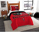 2 Piece NFL Tampa Bay Buccaneers Comforter Twin Set, Sports Patterned Bedding, Featuring Team Logo, Fan Merchandise, Team Spirit, Football Themed, National Football League, Brown, Red, Unisex
