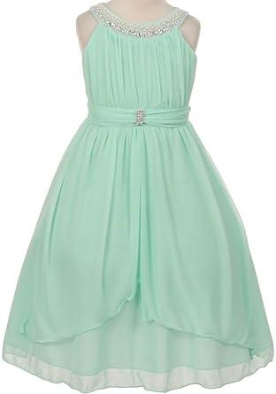 c917baf8f7c6f Amazon.com: Aki_Dress Flower Girl Beaded Neck Trim Chiffon Special Occasion  Dress: Clothing