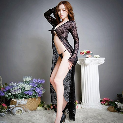 FLH Attraktive Unterwäsche Pyjamas Frau Sommer Rock Versuchung Unterwäsche Ultra Thin Lace Bademantel Nightgown Erogenous