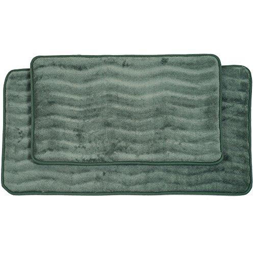 Lavish Home 2-Piece Memory Foam Bath Mat Set, Green - Foam Bath Green