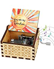 Number-One Wooden Hand Crank Music Box, You are My Sunshine Classical Music Box Antique Carved Musical Box Best Gift for Birthday Christmas Valentine's Day