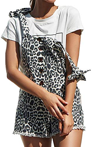 chimikeey Women's Casual Summer Camo Short Overalls Jumpsuit Striped Front Flap Pocket Short Romper (Large, -