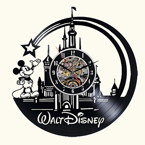Cute Mickey Mouse Walt Disney Vinyl Record Wall Clock Creative Children's Room Art Decor- Unique Handmade Gift Idea for Boys Girls Halloween Christmas and Birthday (30CM Black Round) ()
