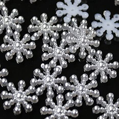 100× Snowflake Flatback Pearl Embellishments Christmas Craft DIY Tools W·