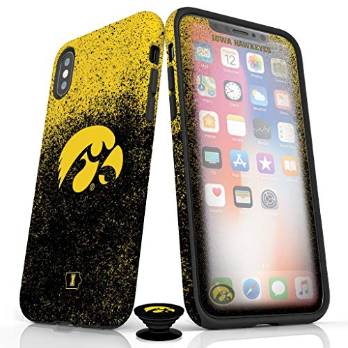 Phone Accessory Bundle for iPhone XR - Screen Protector, Matte iPhone Case, and Cell Phone Grip with Iowa Hawkeyes Design (Iowa Hawkeyes Iphone 4 Case)