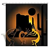 CafePress Kokopellis In The Southwest Decorative Fabric Shower Curtain (69''x70'')