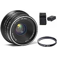 7artisans 25mm F1.8 Manual Focus Prime Fixed Lens for Sony Emount Cameras - Black APS-C Battery Bundle