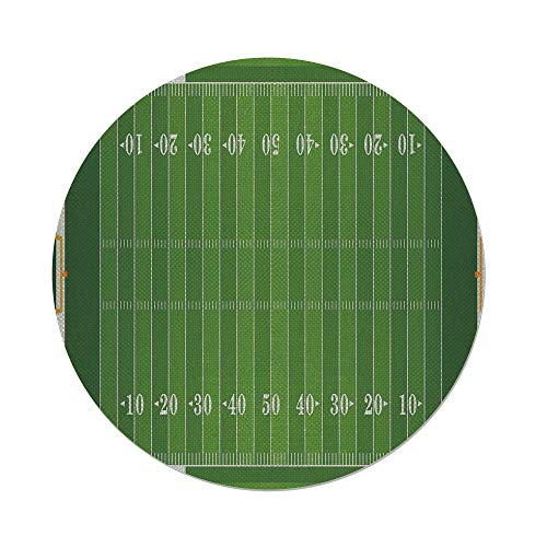 (Cotton Linen Round Tablecloth,Football,Sports Field in Green Gridiron Yard Competitive Games College Teamwork Superbowl,Green White,Dining Room Kitchen Table Cloth Cover)