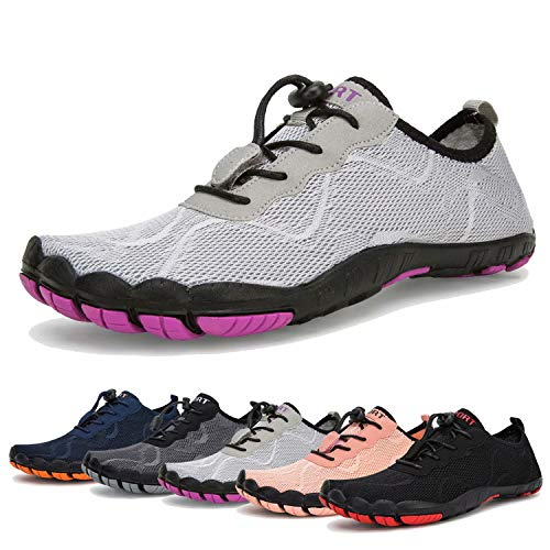 Water Shoes for Womens and Mens Quick Drying Aqua Shoes Beach Pool Shoes (A-Light Gray, 36) (Gray Light Footwear)