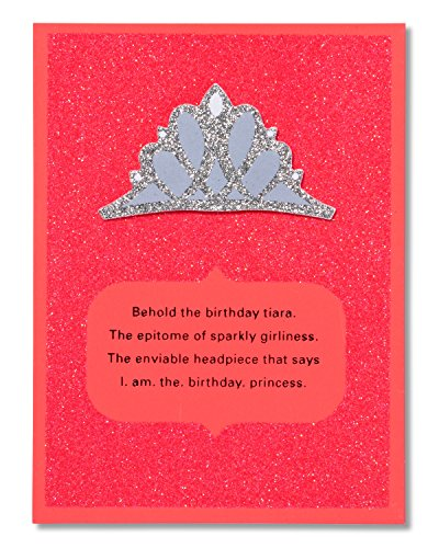 American Greetings Funny Tiara Birthday Card for Her with (Glitter Birthday Cards)
