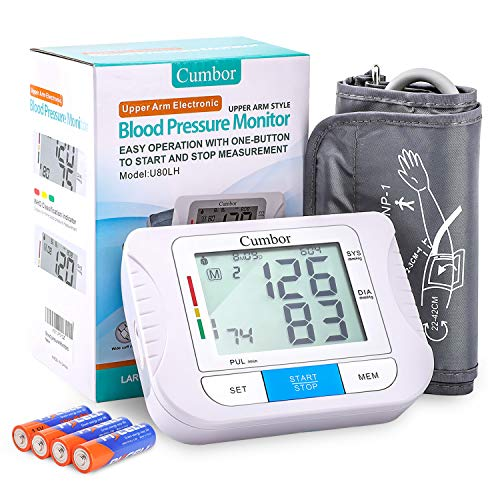 Blood Pressure Monitor Upper Arm with 2 User Mode(180 Memory)- Accurate BP Monitor with Extra Large Cuff Kit fits Standard and Large Arms - Digital Blood Pressure Machine for Adult,Pregnancy-Batterie