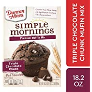 Duncan Hines Simple Mornings Triple Chocolate Chunk Premium Muffin Mix, 18.2 OZ