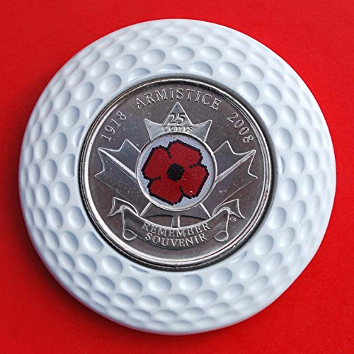 2008 Canada REMEMBRANCE DAY RED POPPY Quarter 25 Cent BU Uncirculated Coin 3D Design 4 Leaf Clover Removable Golf Ball Marker Magnetic Poker Chip