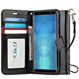 J&D Galaxy J8 Case, [Wallet Stand] [Slim Fit] Heavy Duty Protective Shock Resistant Flip Cover Wallet Case for Samsung Galaxy J8 - Black