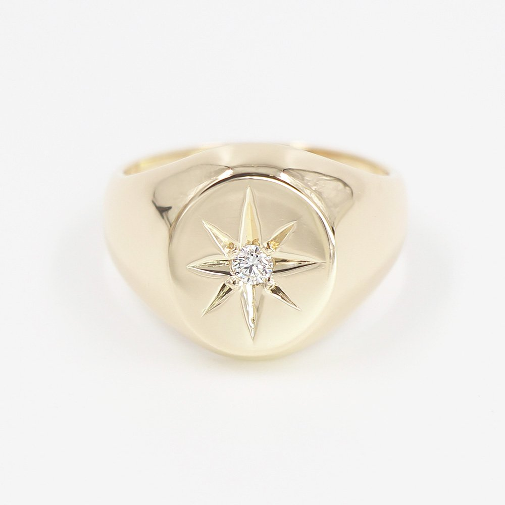 Diamond Signet Ring, Minimalist Signet Ring, Star Setting Natural Diamond Signet Ring, 14k Solid Gold Signet Ring