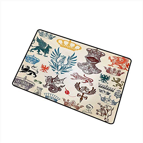BeckyWCarr Medieval Welcome Door mat Collection of Medieval Renaissance Icons Retro Style Baroque Classical Art Print Door mat is odorless and Durable W15.7 x L23.6 Inch,Multicolor