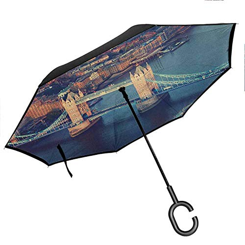 London Inverted Umbrellas Reverse Folding Umbrella London Aerial View with Tower Bridge at Sunset Internatinal Big Old UK British River Windproof UV Protection Umbrella 42.5