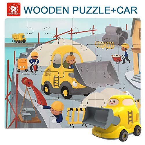 TOP BRIGHT Floor Puzzles for Kids , 24 Pieces Puzzles for Kids Cars , Educational Puzzles for Toddler-Bulldozer
