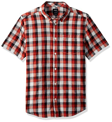 RVCA Men's DEEP Plaid Short Sleeve Woven Button Down Shirt, Baked Apple, L