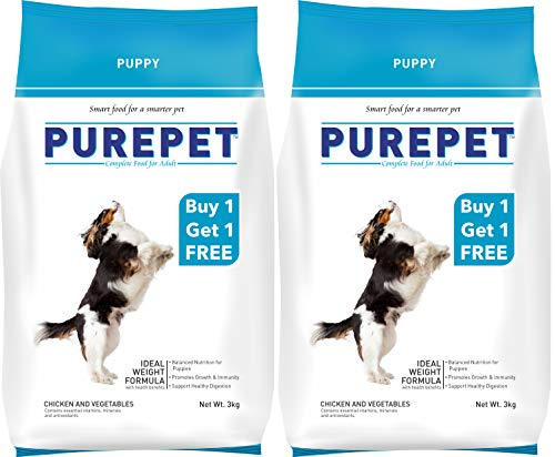 Purepet Chicken and Vegetables Puppy Dog Food, 3kg (Buy 1 Get 1 Free) (B07D39Y4Q5) Amazon Price History, Amazon Price Tracker