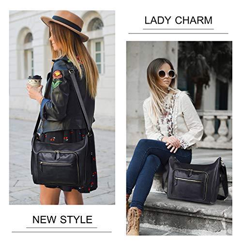 Multi Waterproof Women Tote Pocket For Shoulder Crossbody Office Capacity Bag Bags Large Black Hobo Travel for Leather UEw8Ev4x