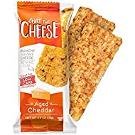 Just The Cheese Bars, Crunchy Baked Low Carb Snack Bars - 100% Natural Cheese. High Protein and Gluten Free, Aged Cheddar (12 Two-Bar Packs)