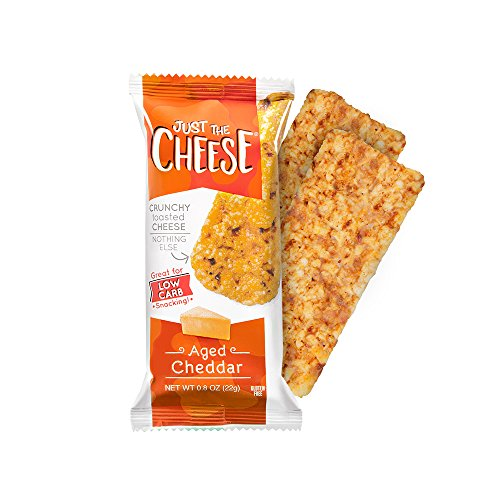 Just the Cheese Bars, Crunchy Baked Low Carb Snack Bars. 100% Natural Cheese. High Protein and Gluten Free, Aged Cheddar (12 Two-Bar Packs) (Crackers Cheese Snacks)
