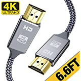 4K HDMI Cable 6.6 ft,Capshi High Speed 18Gbps HDMI 2.0 Cable,4K, 3D, 2160P, 1080P, Ethernet - 28AWG Braided HDMI Cord - Audio Return(ARC) Compatible UHD TV, Blu-ray, PS4, PS3, PC