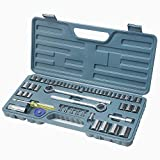 Hi-Spec 52 Piece SAE & Metric Socket Set including 1/2'' and 3/8'' Reversible Ratchet Handle & 1/4'' Socket Drive Spinner Handle, all in Sturdy Blow Mold Case