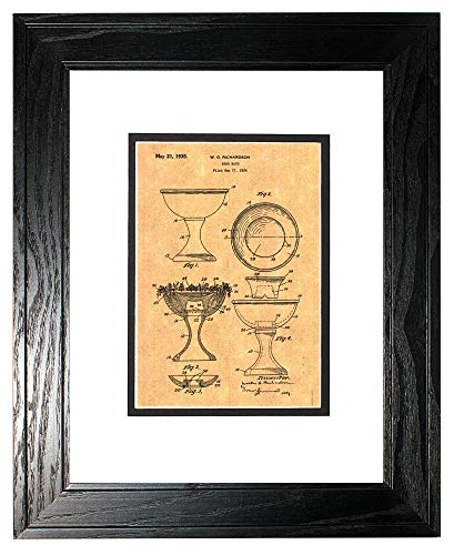 Bird Bath Patent Art Print in a Black Pine Wood Frame with a Double Mat (16