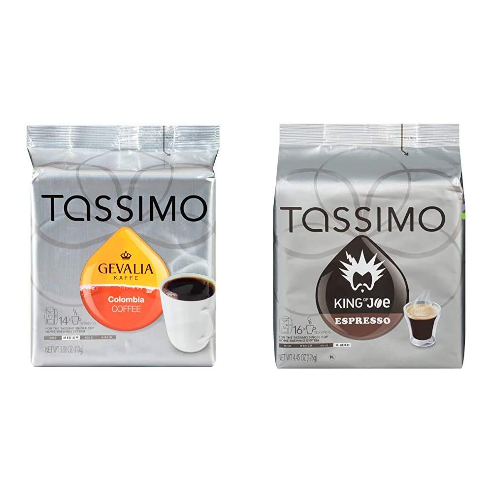 Gevalia Colombia Coffee T-Discs for Tassimo Brewing Systems (14 T-Discs) & King of Joe Espresso Coffee T-Discs for Tassimo Brewing Systems (16 T-Discs)