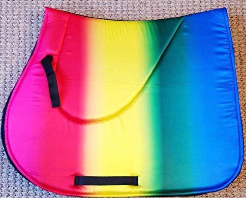 Rainbow Horse English Saddle Pad Set Matching Stirrups Fly Bonnet Veil Ear Net