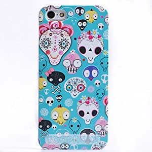 QJM Colorful Cartoon Skull Pattern ABS Back Case for iPhone 5/5S(Assorted Color) , Black