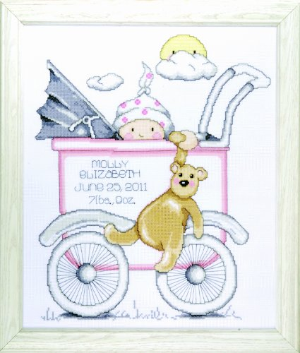 Tobin T21743 Baby Buggy Girl Birth Record Counted Cross Stitch - New Little Birth Record One