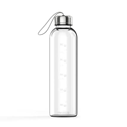 amazing price shades of new lifestyle Xtremeglas Hydrate Replacement Bottle 32 Oz Glass Water Bottle with Gray  Strap Lid Reusable Time Marked Eco Friendly BPA Free Drink More Water