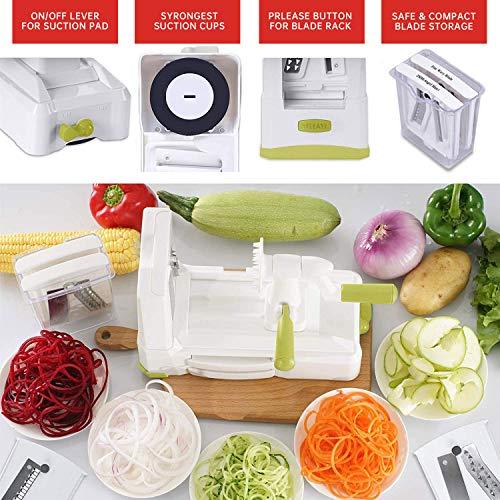 5 IN 1 Spiralizer Vegetable Slicer , Powerful Food Slicer Anti-Slip Sucker Spiral Slicer for Zucchini Noodles and Veggie Pasta Maker