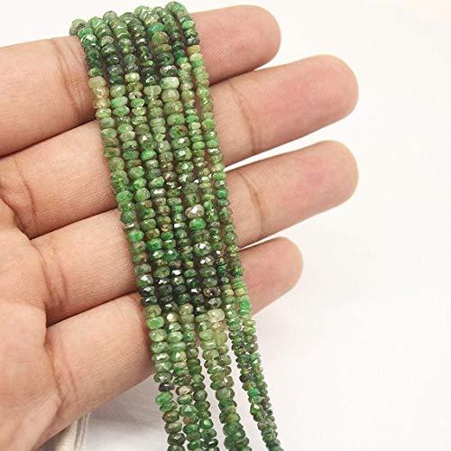 Beads Bazar Natural Beautiful jewellery Shaded Green Garnet Tsavorite Faceted Gemstone Micro Rondelle Loose Craft Beads Strand 13