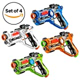 Toydaloo Set of 4 Infrared Laser Tag Guns, 4 Player Indoor and Outdoor Team Game (Orange, Green, Blue, White)