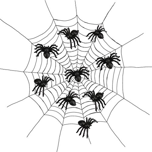 Halloween,Baomabao 100pcs Plastic Spider Trick Toy Party Halloween Haunted House Decor BK]()