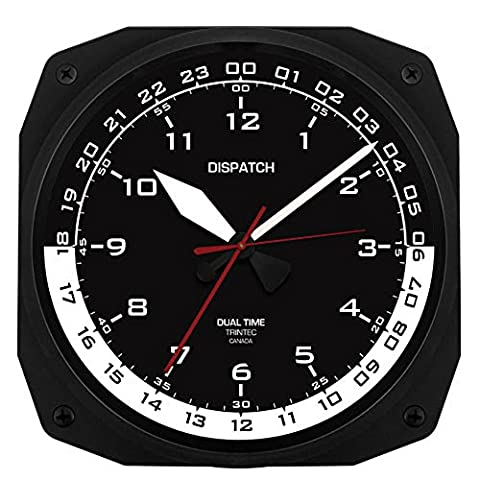 Trintec 12 & 24 Hour Square Military Time Swl Zulu Time 24hr Wall Clock Black Dial with White Moon (24 Hour Dial Clock)