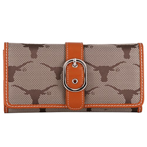 Price comparison product image Texas Longhorns Orange Leather and Brown Jacquard Fabric Ladies Wallet