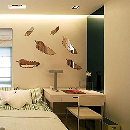 Buy Creative 48pcs Feather Designed 48D Mirror Craft Kid Home Decor Amazing 3D Home Interior Design Online Creative
