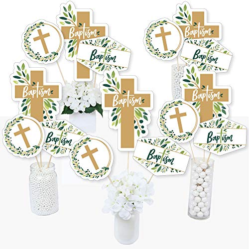Baptism Elegant Cross - Religious Party Centerpiece Sticks - Table Toppers - Set of 15 ()