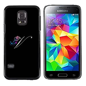 LECELL--Funda protectora / Cubierta / Piel For Samsung Galaxy S5 Mini, SM-G800, NOT S5 REGULAR! -- Black Initials Letter Calligraphy Text --