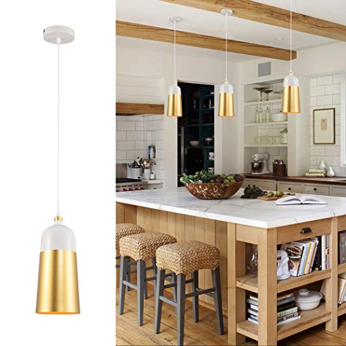LWD Metal Industrial Pendant Light in Brushed Finish with White Golden Aluminum Cage Shape,Adjustable Mini Modern Hanging Light Fixture for Kitchen Island, Dining Rooms, Living Room, Bar, 1-Light