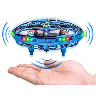 PALA PERRA Drones for Kids- UFO Flying Toys with Cool LED Lights, 360 Degree Rotating UFO Drone, Upgraded Helicopter with 2 Play Modes, Hand Operated Mini Drone Gifts for Kids, Boys & Girls, Blue