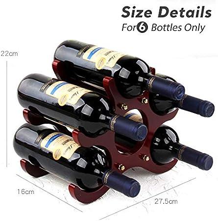 Gimars Estante para Vino, Botelleros de Madera para 6 Botellas,Estante de Almacenamiento de Vino, Estantes de Madera Rústica, Decoración de Casa, Oficina, Sala y ect.