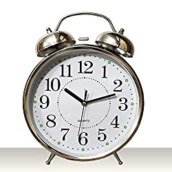 Big Twin Bell Alarm Clock - Cool Stylish Design Perfect Alarm Clock for Bedside Table but can Look Cool in Any Room, Never OverSleep Again